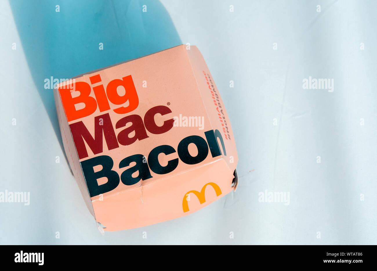McDonald's Big Mac Bacon Burger, Mcdonald's is the worlds biggest chain of fast food restaurants Stock Photo