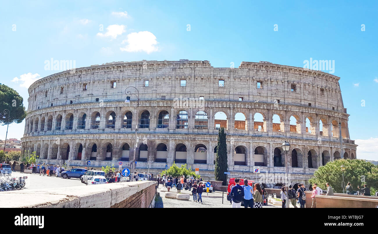 Rome italy April 30 2019, Building of Colosseum - Amphitheatre in the centre of the city of Rome, Architecture and landmark. Rome Colosseum is one of Stock Photo