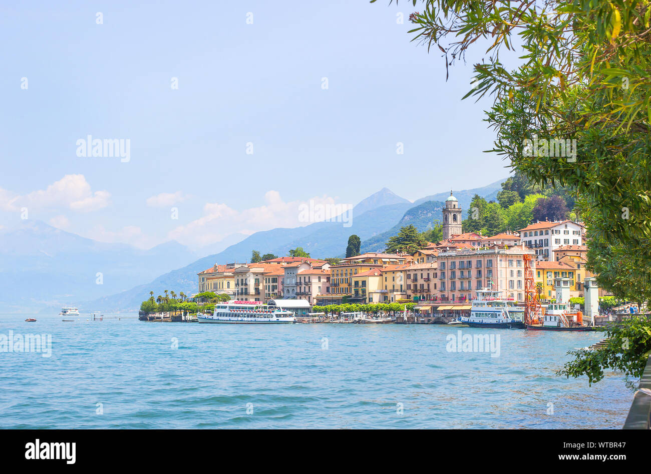 Landscape Of Como lake in Italy. Spectacular view on coastal town - Bellagio, Lombardy. Famous Italian recreation zone and popular European travel des Stock Photo
