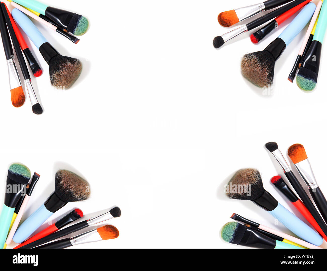 Professional makeup brushes and makeup tools, accessory on white background with copy space for text. beauty, fashion, party and shopping concept, top Stock Photo