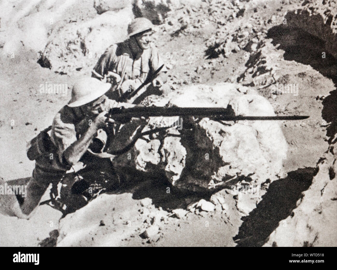WWII period, North Africa. Tobruk's resistance. Polish soldats are part of the heroic Garrison. Stock Photo