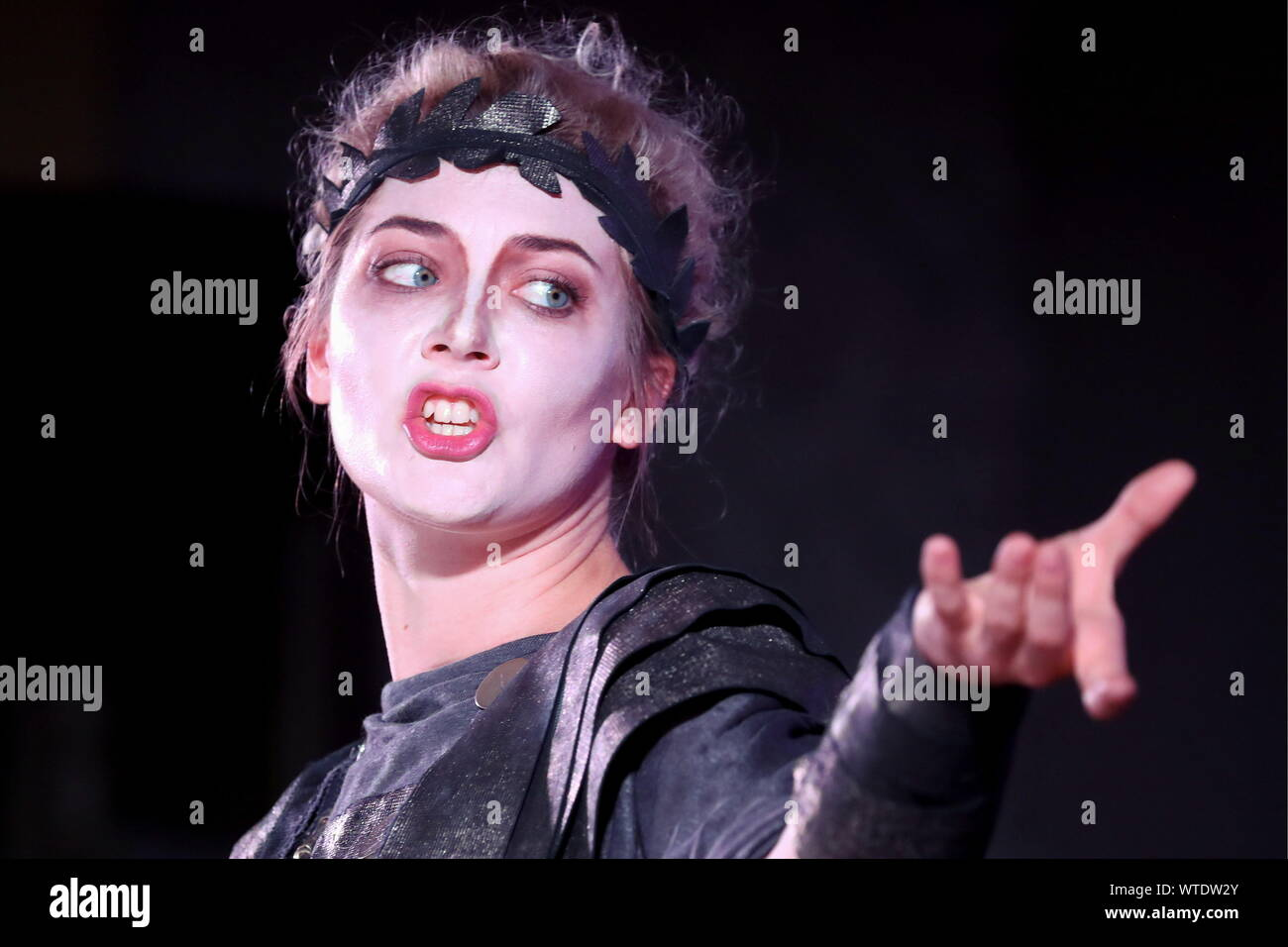 Moscow, Russia. 11th Sep, 2019. MOSCOW, RUSSIA - SEPTEMBER 11, 2019: Singer Yelizaveta Sveshnikova as Cephalus performs in a scene from the opera production of Cephalus and Procris staged at the Patriarch's Palace of the Moscow Kremlin as part of the 2nd Music Festival Tsars and Muses - Opera at the Russian Court. Sergei Karpukhin/TASS Credit: ITAR-TASS News Agency/Alamy Live News Stock Photo