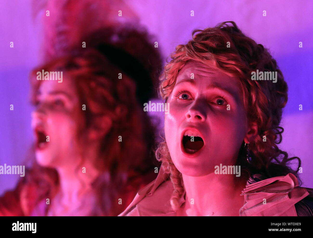 Moscow, Russia. 11th Sep, 2019. MOSCOW, RUSSIA - SEPTEMBER 11, 2019: Singer Yulia Khotay (R) as Procris performs in a scene from the opera production of Cephalus and Procris staged at the Patriarch's Palace of the Moscow Kremlin as part of the 2nd Music Festival Tsars and Muses - Opera at the Russian Court. Sergei Karpukhin/TASS Credit: ITAR-TASS News Agency/Alamy Live News Stock Photo