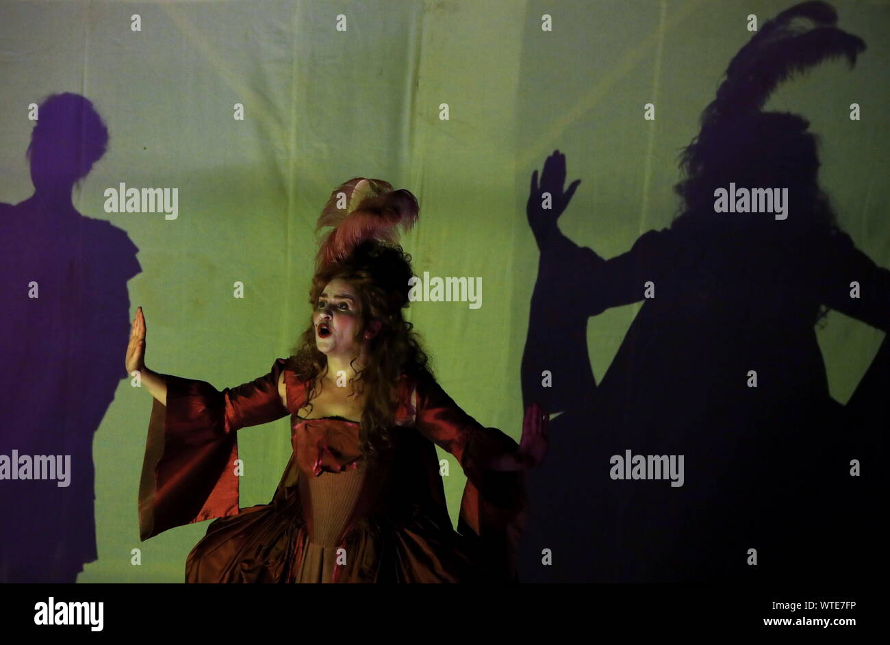 Moscow, Russia. 11th Sep, 2019. MOSCOW, RUSSIA - SEPTEMBER 11, 2019: Singer Vera Chekanova as Aurora performs in a scene from the opera production of Cephalus and Procris staged at the Patriarch's Palace of the Moscow Kremlin as part of the 2nd Music Festival Tsars and Muses - Opera at the Russian Court. Sergei Karpukhin/TASS Credit: ITAR-TASS News Agency/Alamy Live News Stock Photo