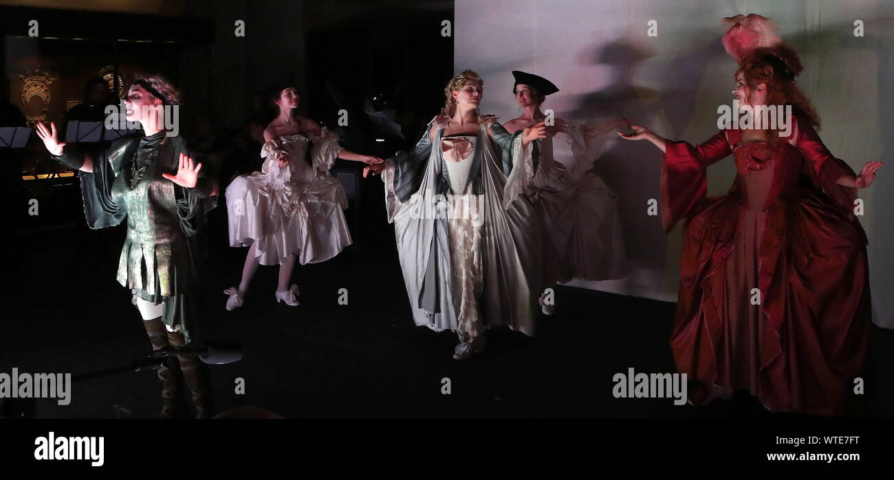 Moscow, Russia. 11th Sep, 2019. MOSCOW, RUSSIA - SEPTEMBER 11, 2019: A scene from the opera production of Cephalus and Procris staged at the Patriarch's Palace of the Moscow Kremlin as part of the 2nd Music Festival Tsars and Muses - Opera at the Russian Court. Sergei Karpukhin/TASS Credit: ITAR-TASS News Agency/Alamy Live News Stock Photo