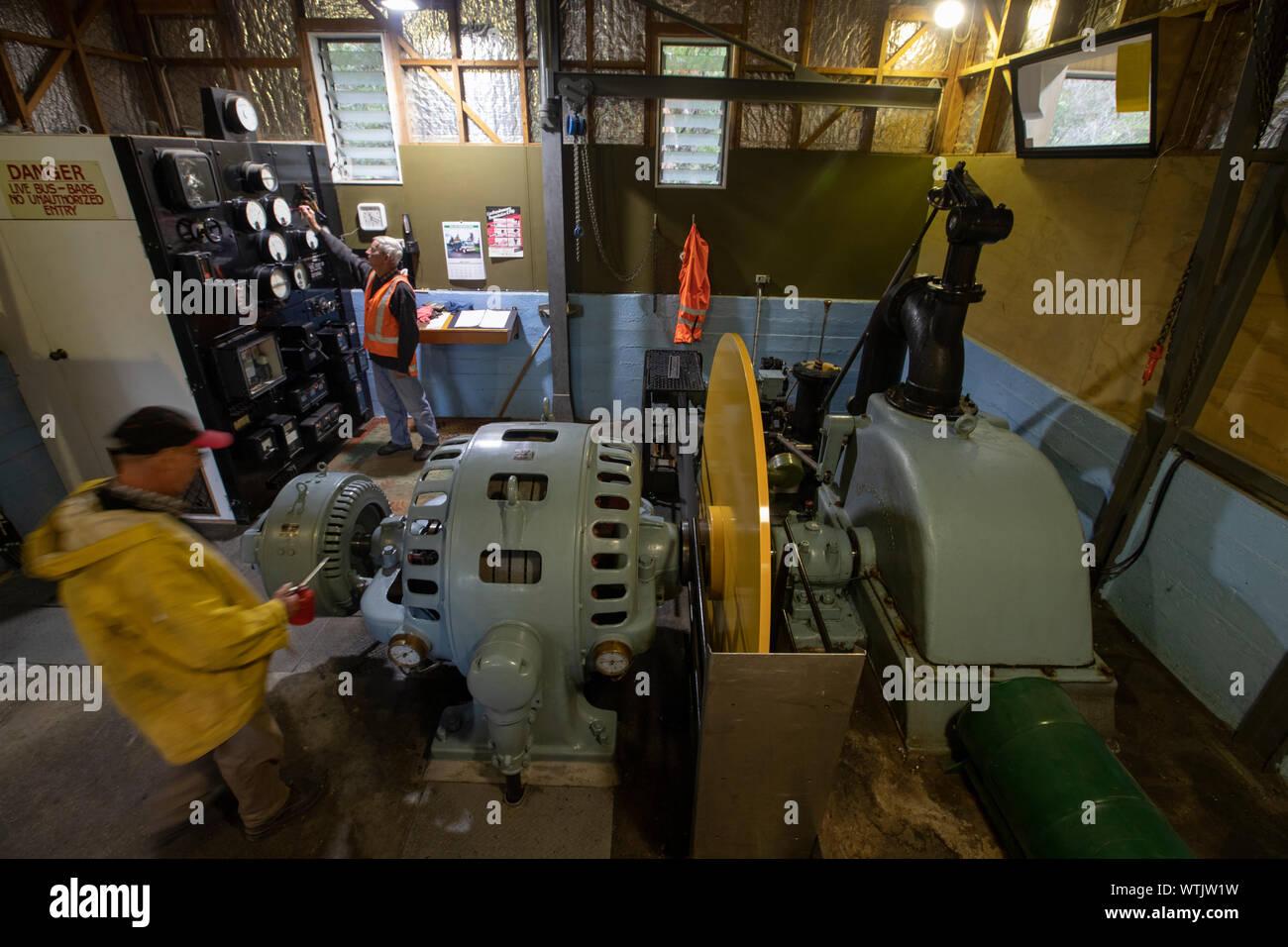 Picture by Tim Cuff - 8 May 2019 - Pupu Hydro power generator scheme, Golden Bay, New Zealand: Four Corners Stock Photo