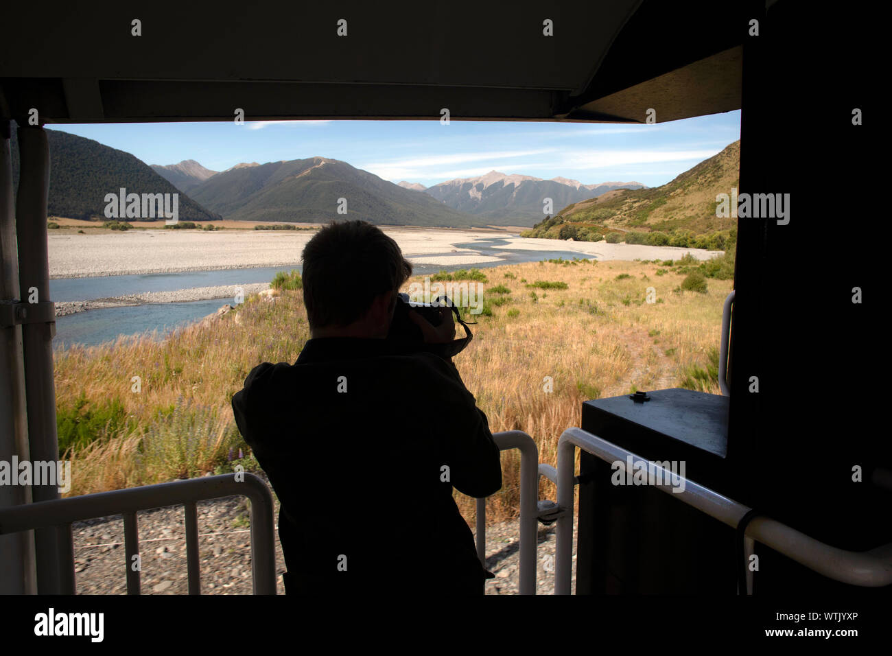 Picture by Tim Cuff - 4 & 5 January 2019 - Tranz Alpine train journey from Christchurch to Greymouth, New Zealand: spectacular scenery at the train ap Stock Photo