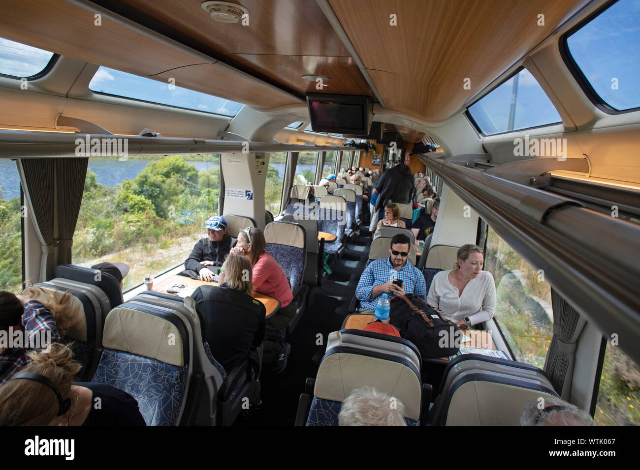 Picture by Tim Cuff - 4 & 5 January 2019 - Tranz Alpine train journey from Greymouth to Christchurch, and next day return, New Zealand: the carriages Stock Photo