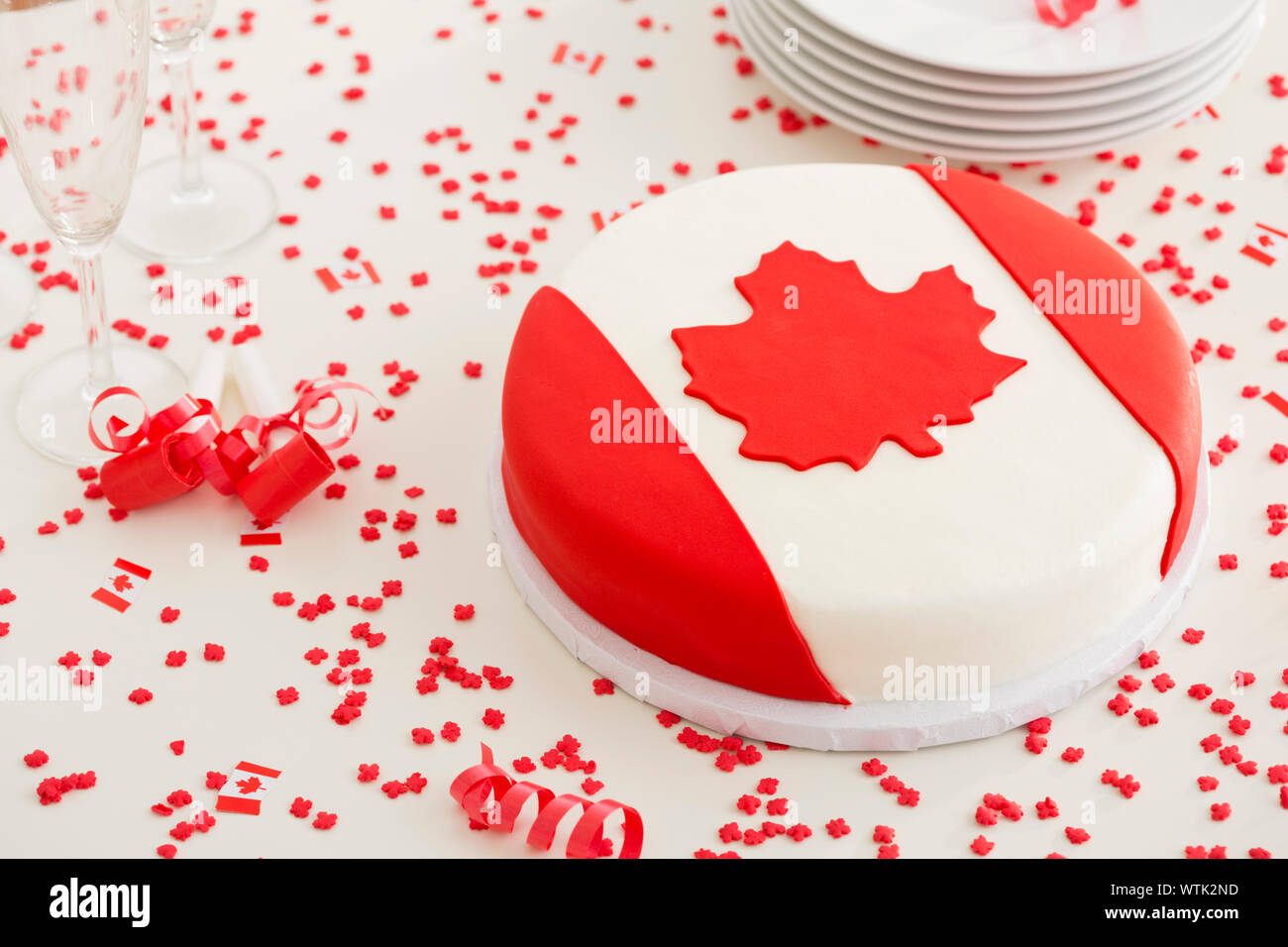 Canadian flag cake Stock Photo