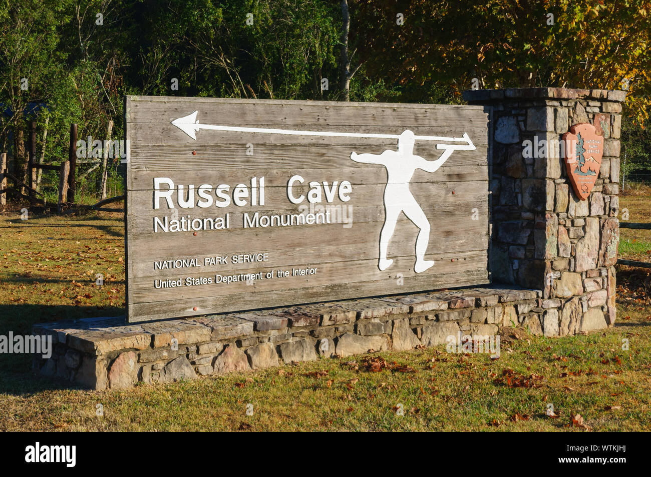 Russell Cave National Monument's Welcome Sign Stock Photo