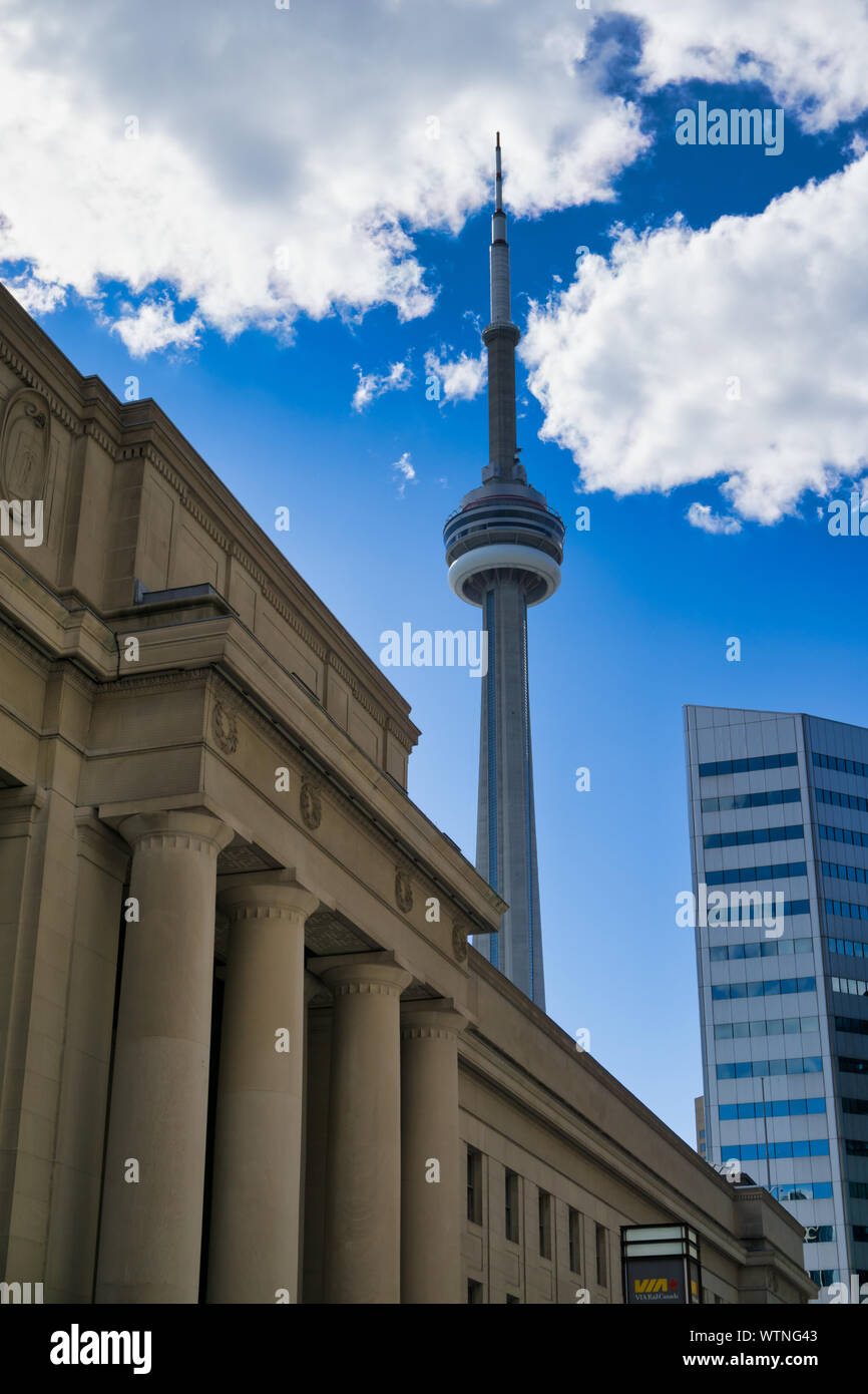 Famous CN tower in downtown Toronto,Canada Stock Photo