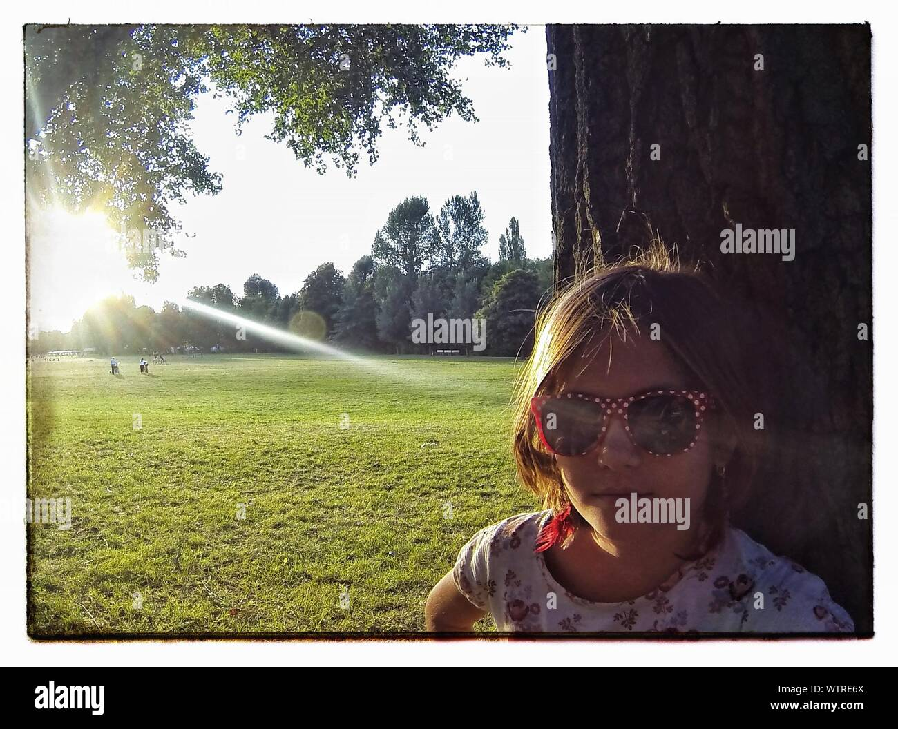 Close-up Of Girl Wearing Sunglasses Standing By Tree In Park Stock Photo