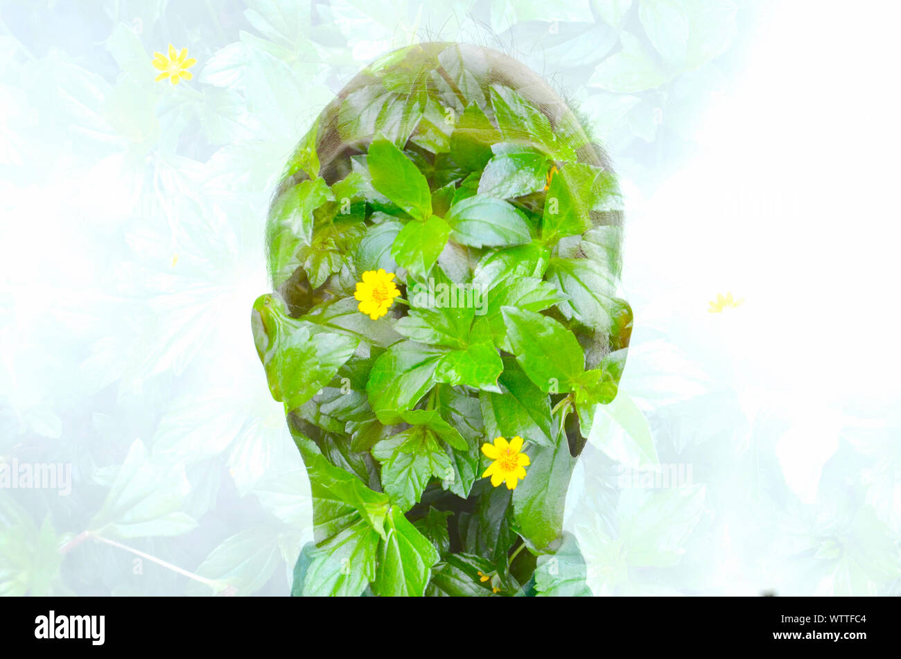 Digital Composite Of Man And Flowering Plants Stock Photo