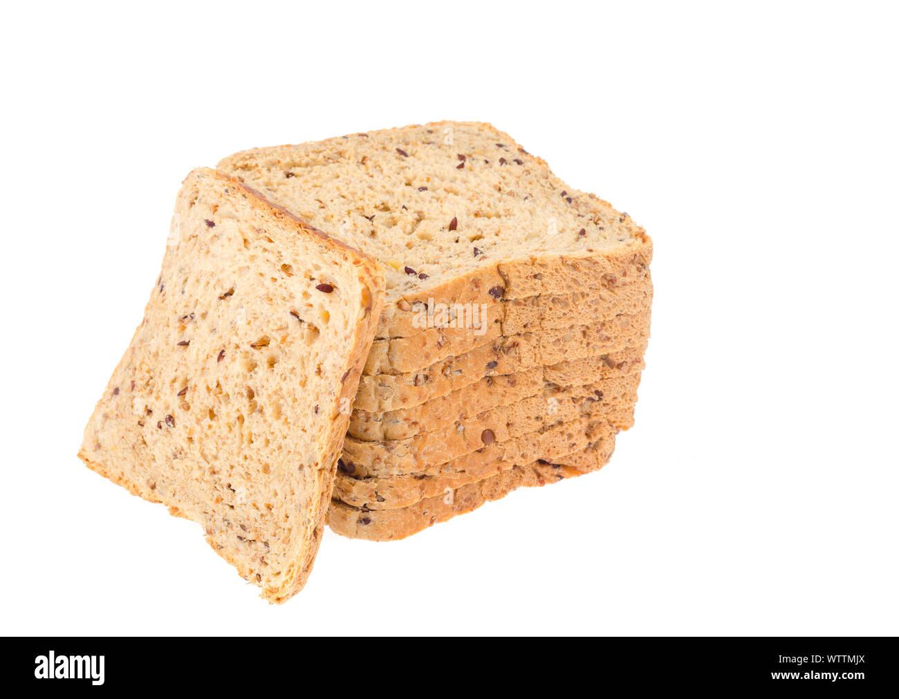 Stack of sliced chopped whole grain bread. Studio Photo Stock Photo
