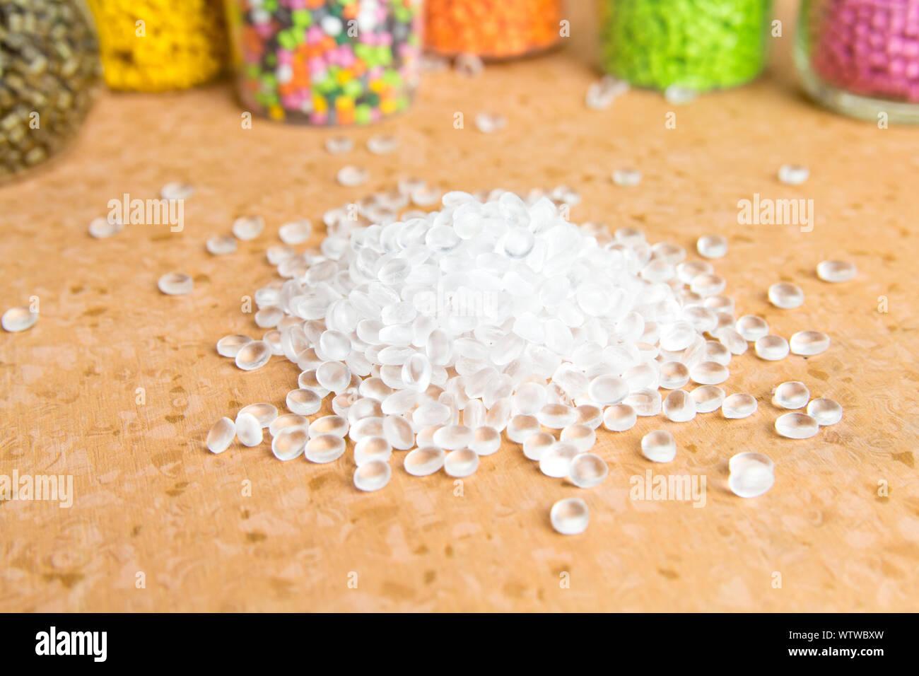 Plastic pellets. Polyethylene granules. Plastic Raw material  PE-HD. PE-LD  polymer. BPA FREE Stock Photo