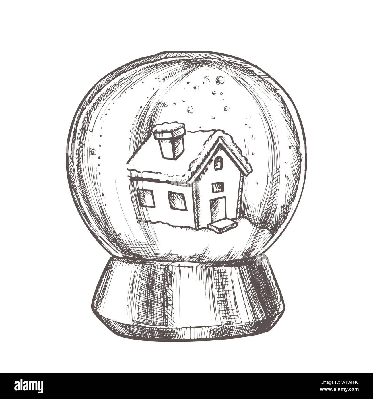Snow Globe With House Souvenir Vintage Vector Stock Vector