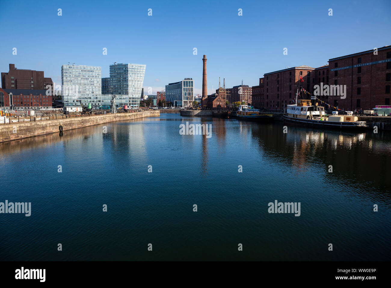 A view of the Royal Albert Dock, Liverpool, U.K. following a complete regenerative transformation in 1988 and now one of the most visited attractions Stock Photo