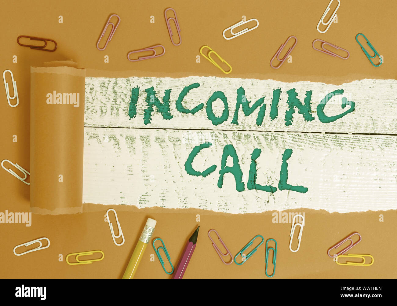 Conceptual hand writing showing Incoming Call. Concept meaning Inbound Received Caller ID Telephone Voicemail Vidcall Stock Photo