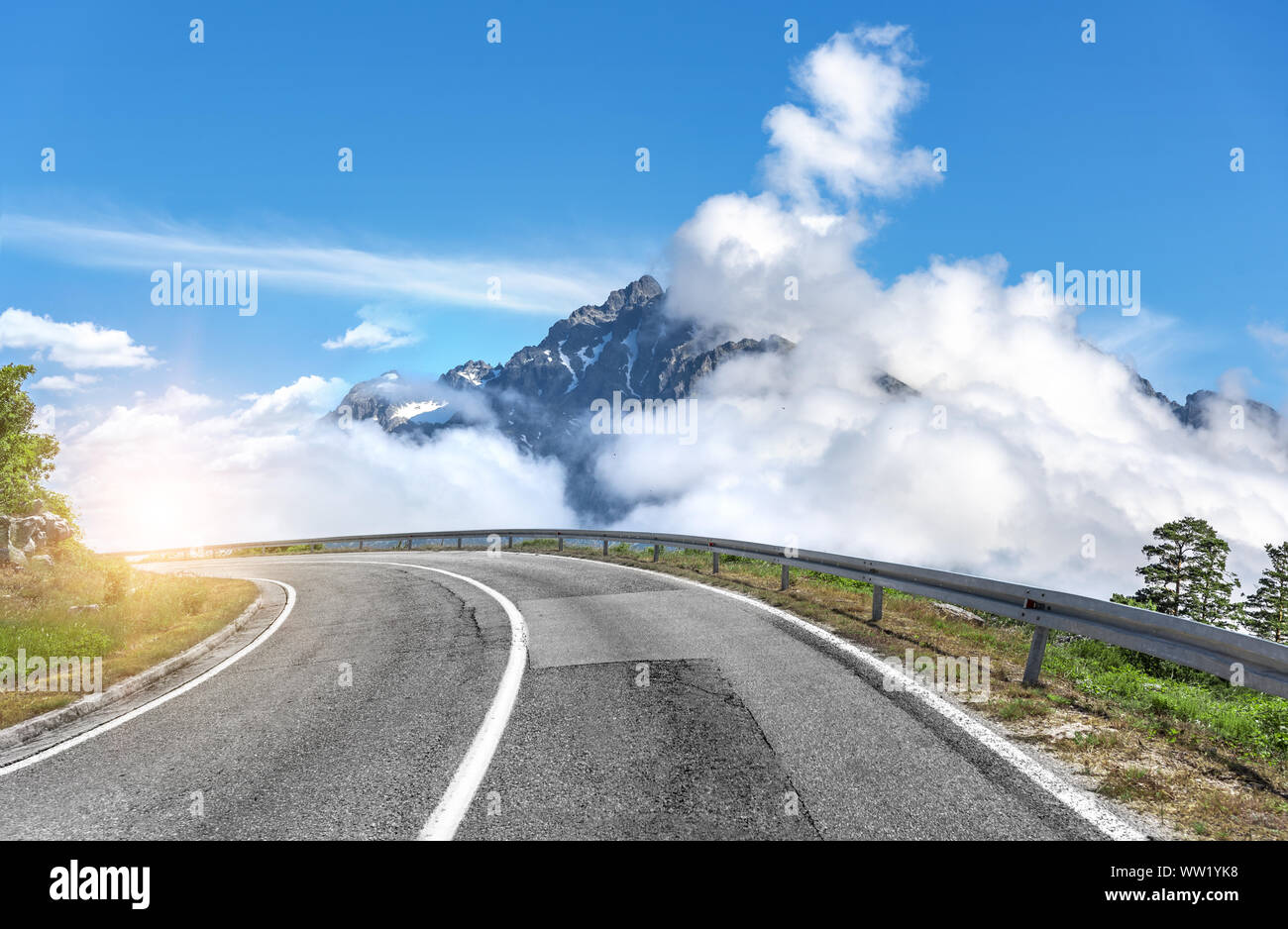 Mountain road on a summer day. Stock Photo