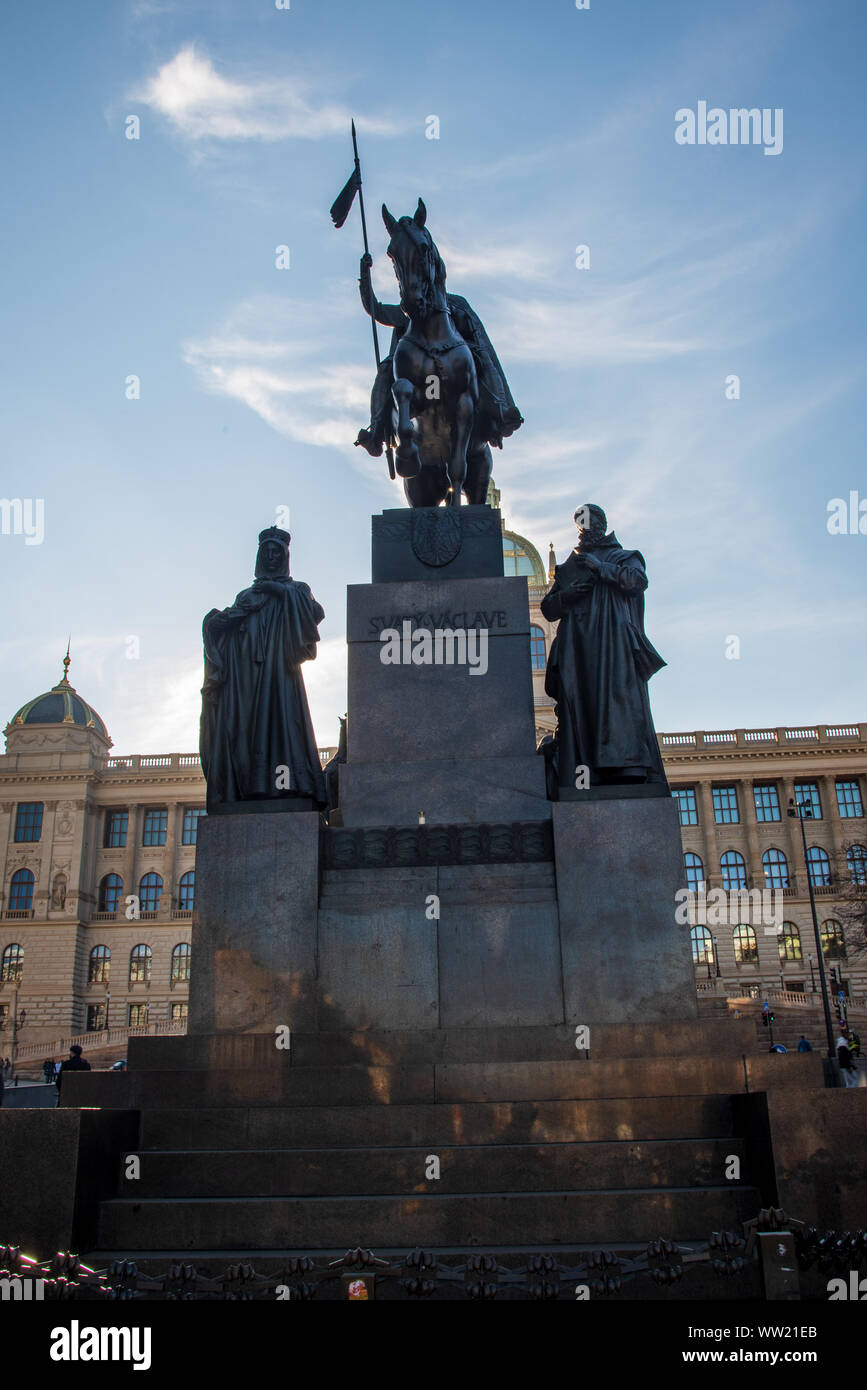 statue of Svaty Vaclav on Vaclavske namesti square with building of Narodni museum on the background in Prague city in Czech republic Stock Photo
