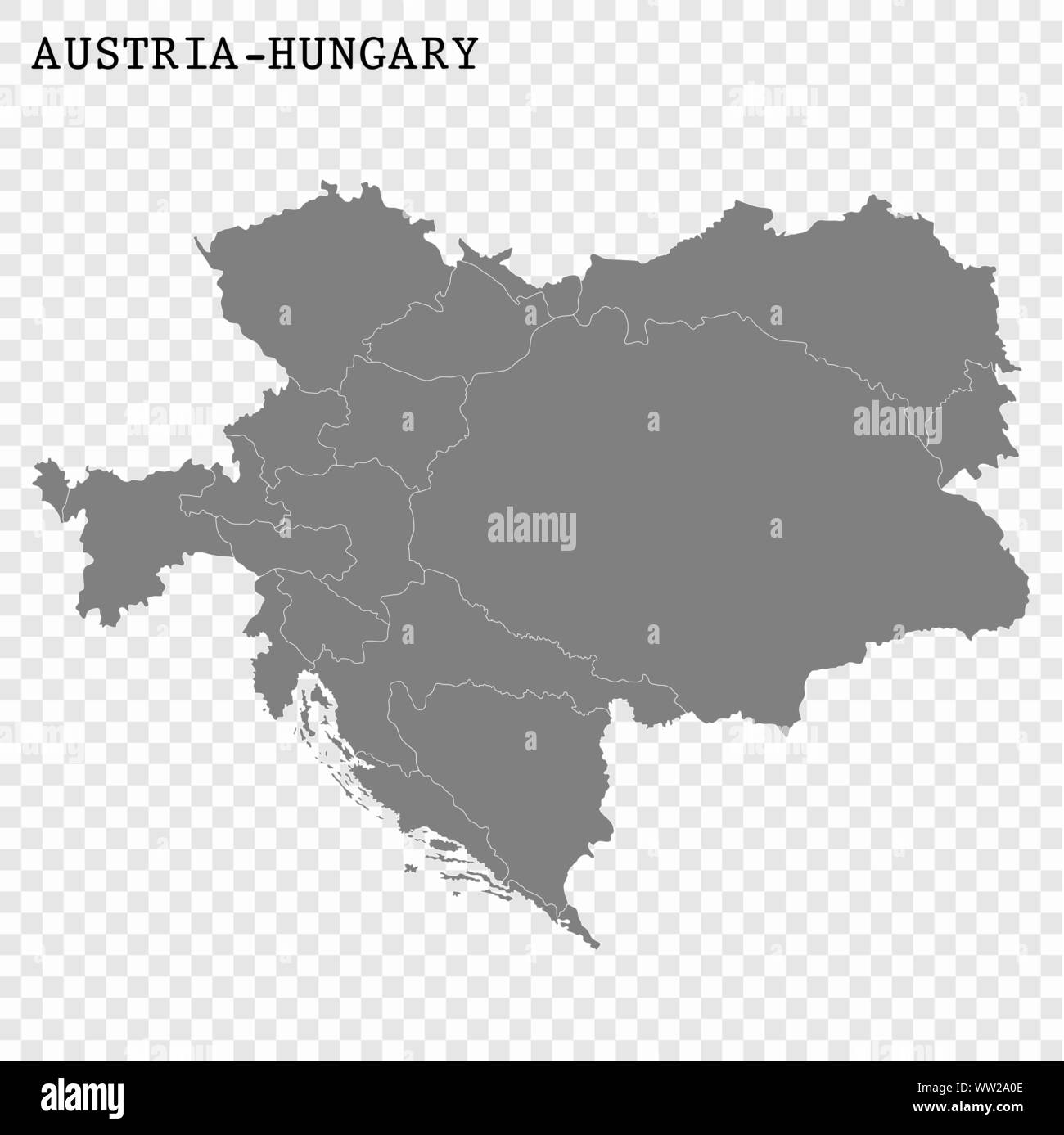High Quality Map Of Austria Hungary With Borders Of The Regions Stock Vector Image Art Alamy