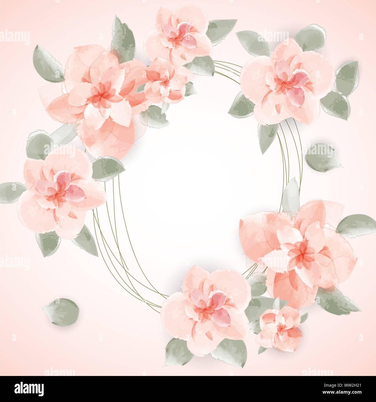 Watercolor Floral Background For Text Paper Cut Design