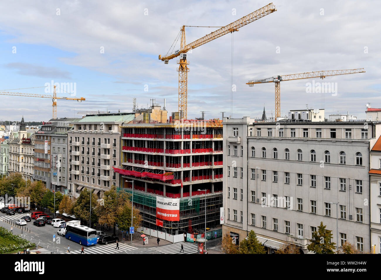 The Flow Building construction site on the corner of Opletalova street and Wenceslas Square, Prague, Czech Republic, September 12, 2019. The building, Stock Photo