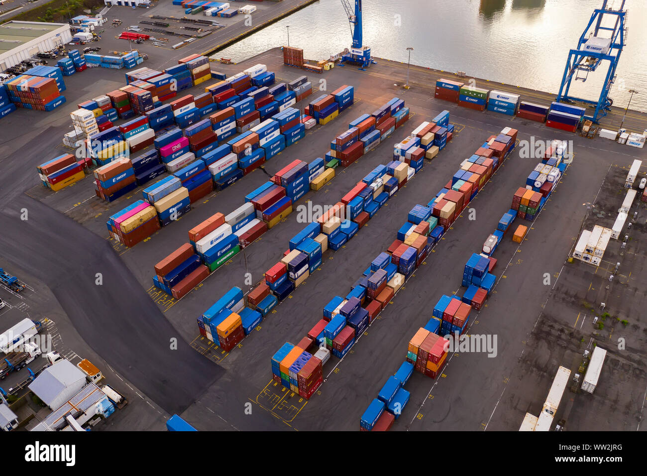 Cars and shipping containers, Reykjavik Harbor, Iceland Stock Photo