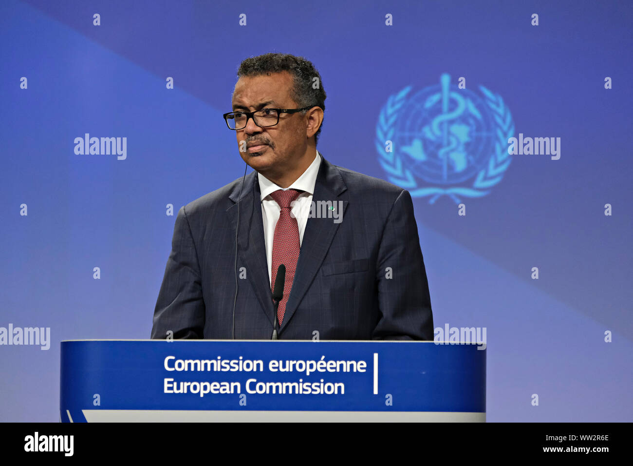 Brussels, Belgium. 12th Sep. 2019. Press conference by Commissioner Vytenis ANDRIUKAITIS and the Director-General of the World Health Organization Tedros ADHANOM GHEBREYESUS, on occasion of the Global Vaccination Summit. Alexandros Michailidis/Alamy Live News Stock Photo