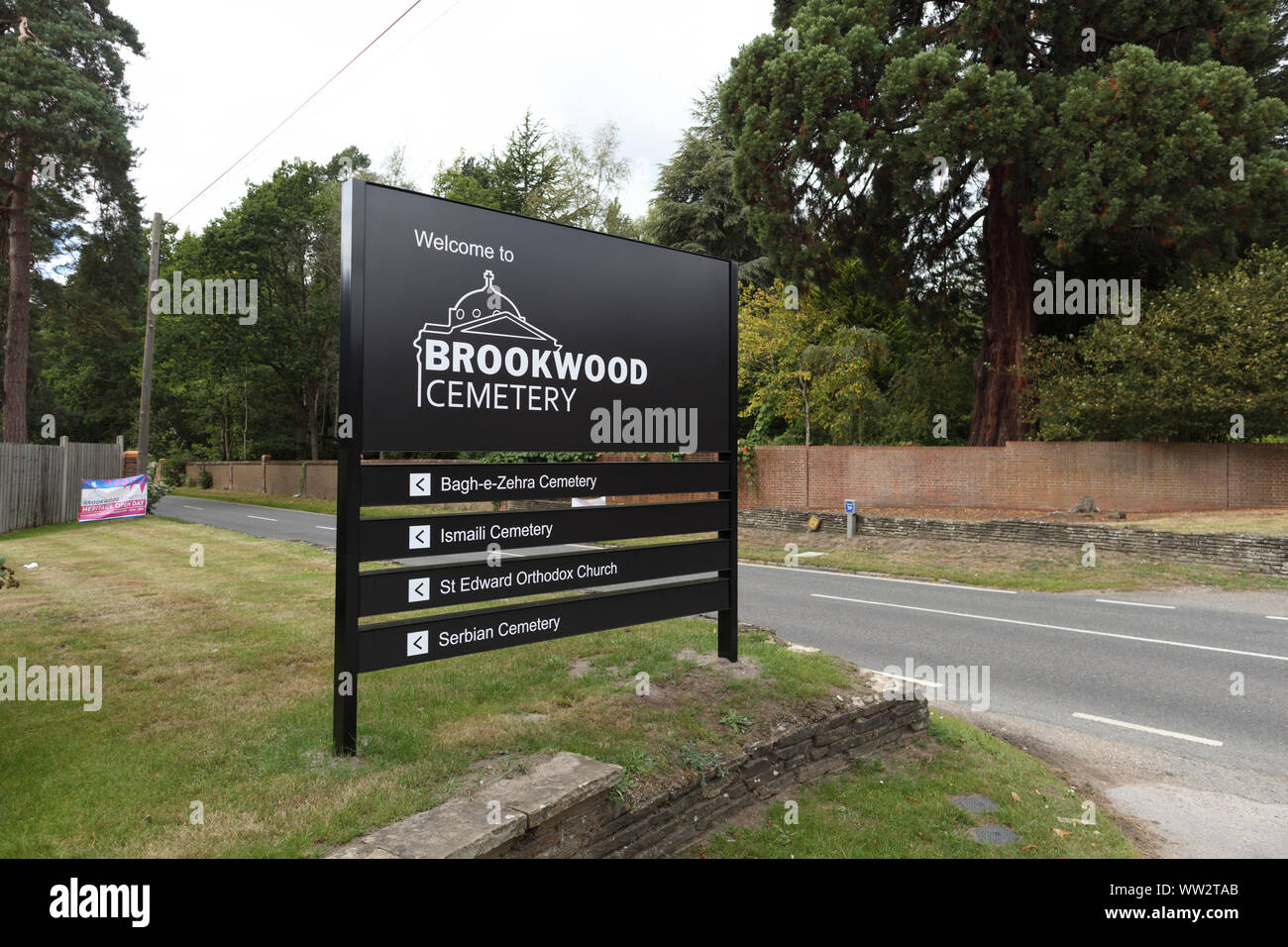 Roadside sign in Cemetery Pales outside Brookwood Cemetery (South), near Brookwood and Pirbright, Woking, Surrey, southeast England, UK Stock Photo