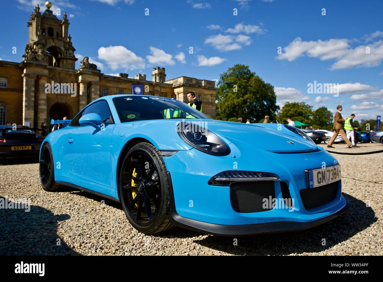 Porsche 911 GT3 RS in miami blue on show at the Concours D