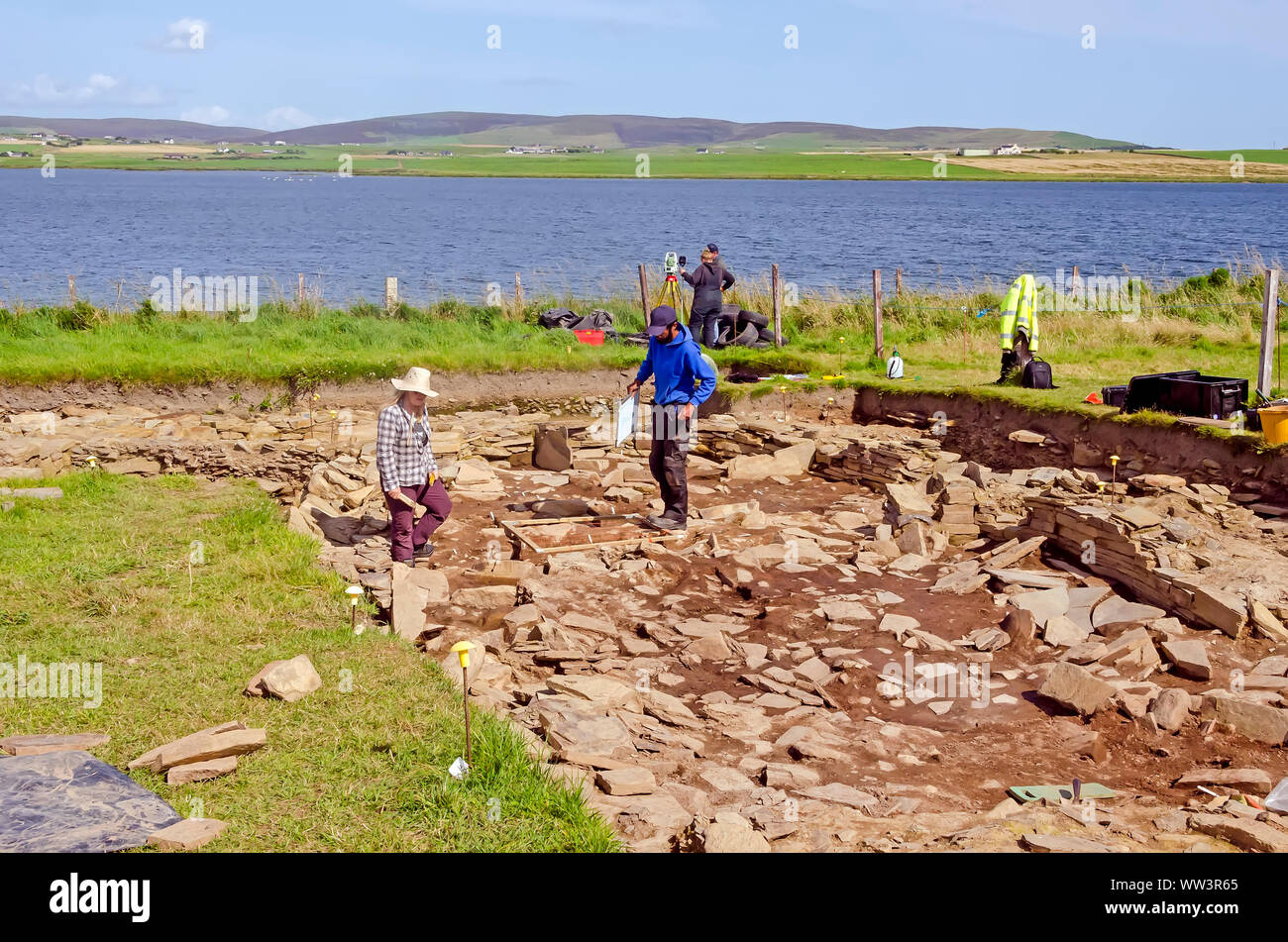 Excavation conducted  at Ness of Brodgar Archaeological Site Mainland Orkney Scotland Stock Photo