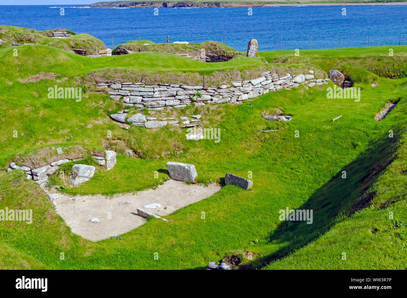 Skara Brae Neolitchic settlement  more than 5,000  years old is the best preserved Stone Age Neolithic village in northern Europe, Orkney, Scotland Stock Photo