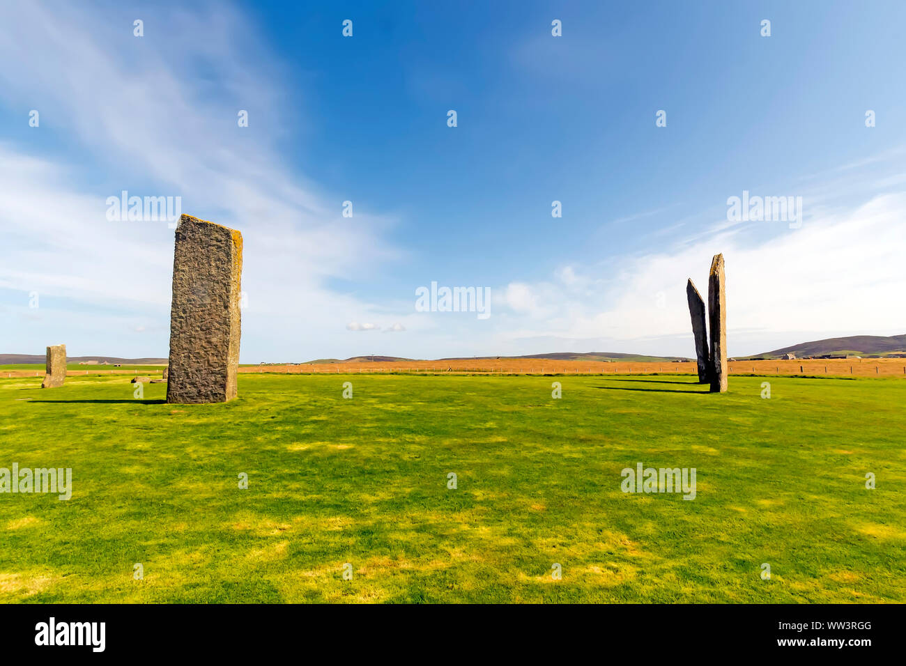 Standing Stones of Stenness dates from at least 3100BC and are part of the Heart of Neolithic Orkney UNESCO World Heritage Site, Scotland Stock Photo