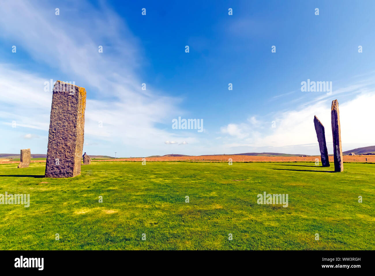 Standing Stones of Stenness dates from at least 3100BC and is part of the Heart of Neolithic Orkney UNESCO World Heritage Site, Scotland Stock Photo