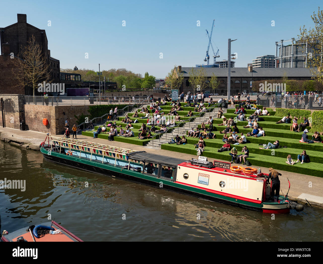 Regent's Canal at Granary Square, King's Cross, London, UK Stock Photo