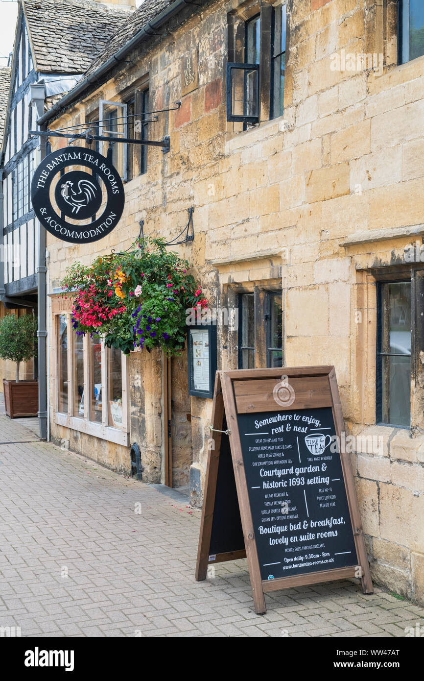 The bantam tea rooms. Chipping Campden, Cotswolds, Gloucestershire, England Stock Photo
