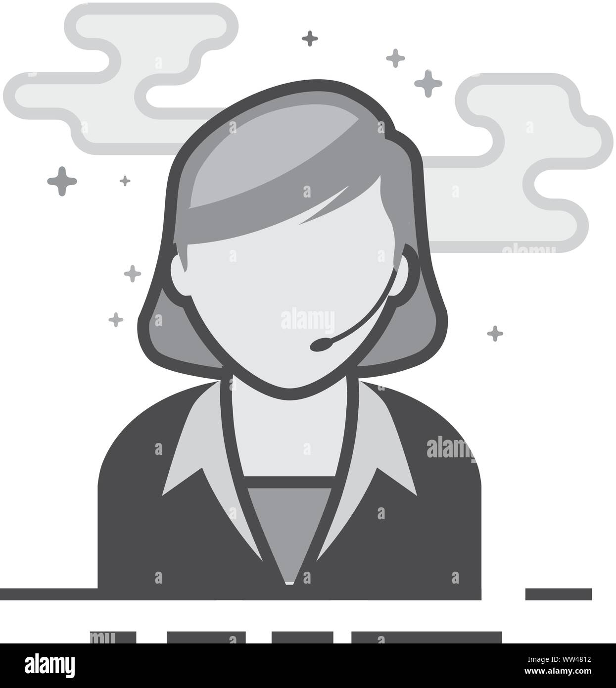 Female receptionist icon in flat outlined grayscale style. Vector illustration. Stock Vector