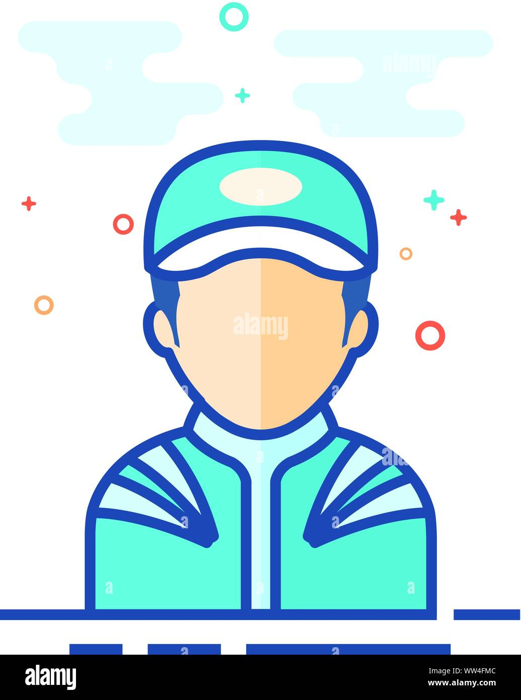 Racer avatar icon in outlined flat color style. Vector illustration. Stock Vector