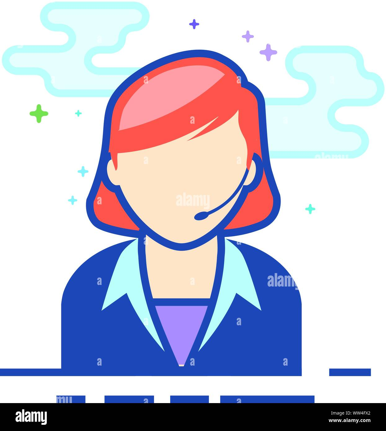 Female receptionist icon in outlined flat color style. Vector illustration. Stock Vector