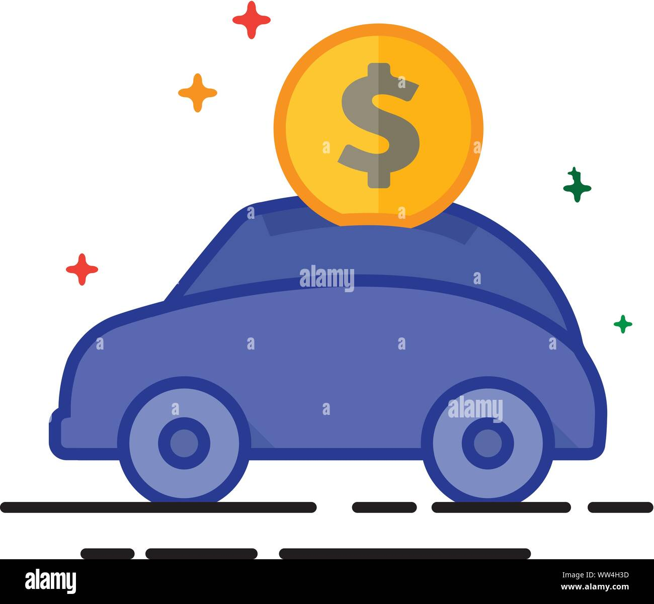 Car piggy bank icon in outlined flat color style. Vector illustration. Stock Vector
