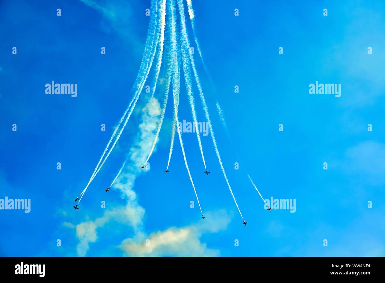 Italian aerobatic team Frecce Tricolori during a flight show in Lignano Stock Photo