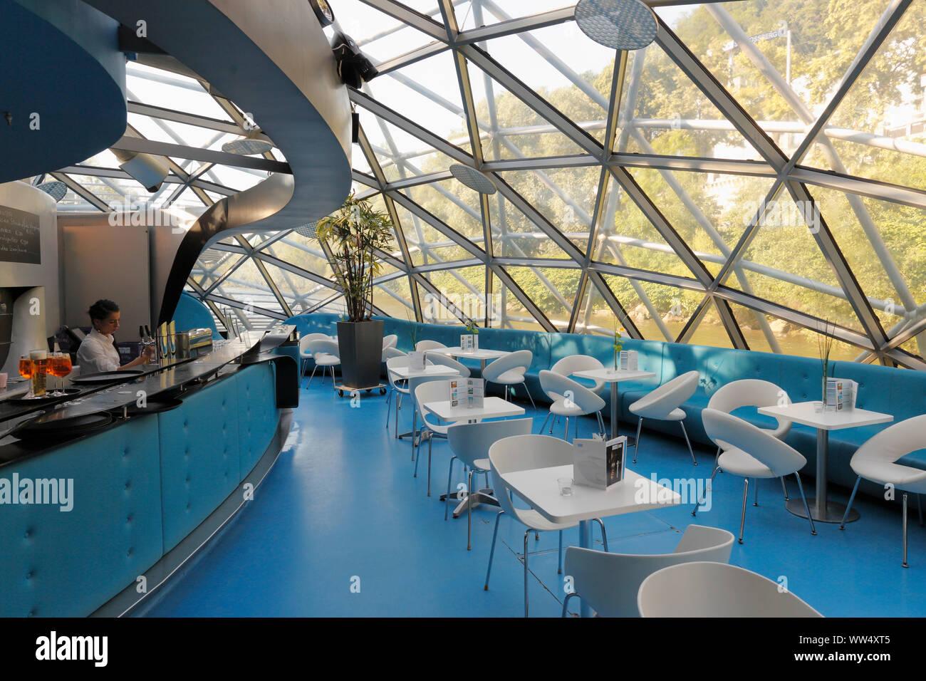 Café in Mur island, Graz, Styria, Austria Stock Photo