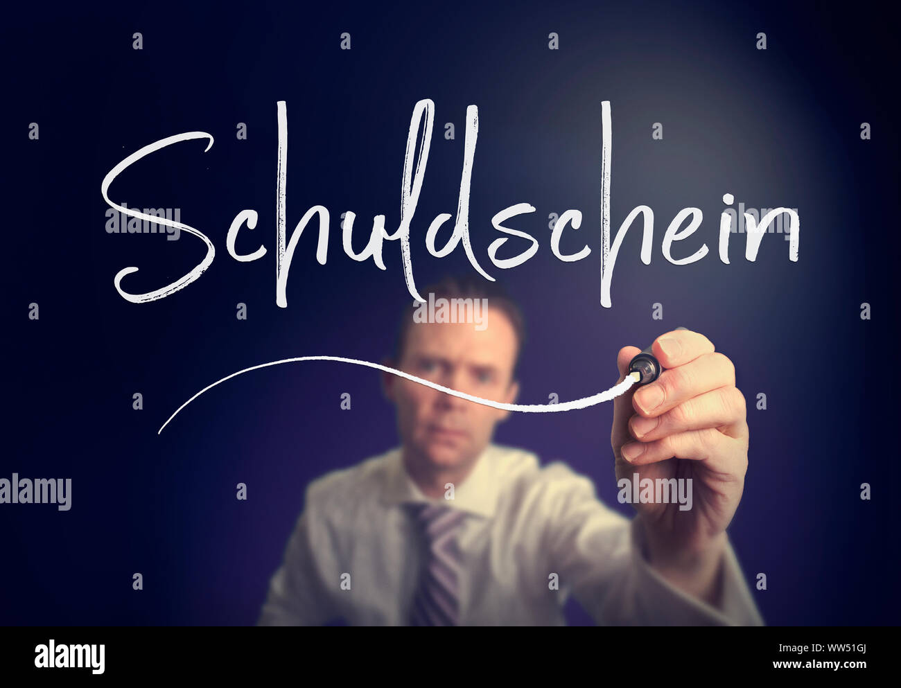 """A businessman writing a Promissory Note """"Schuldschein"""" concept in German with a white pen on a clear screen. Stock Photo"""