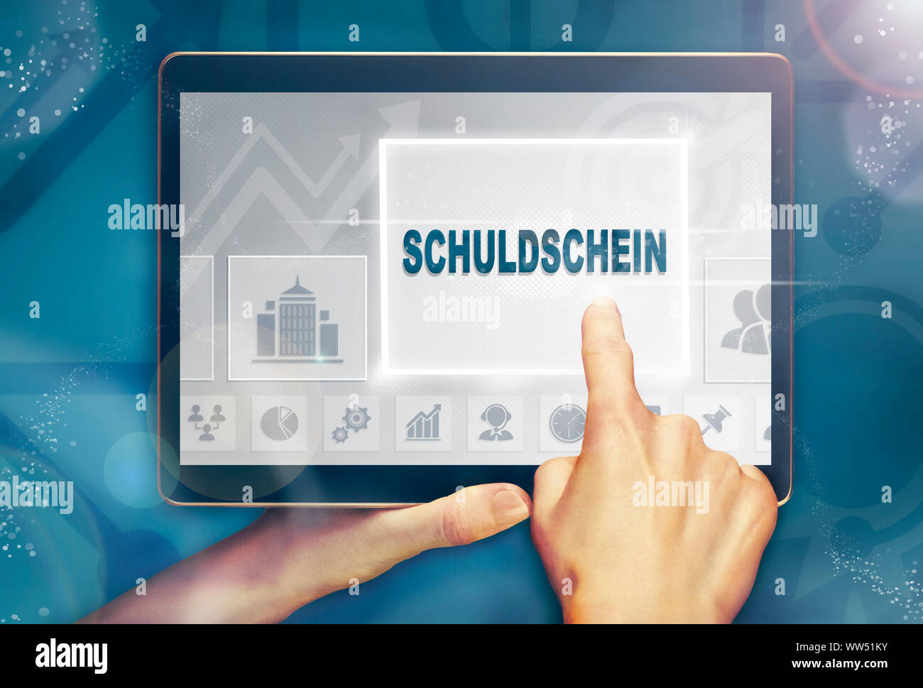 """A hand holiding a computer tablet and pressing a Promissory Note """"Schuldschein"""" business concept. Stock Photo"""