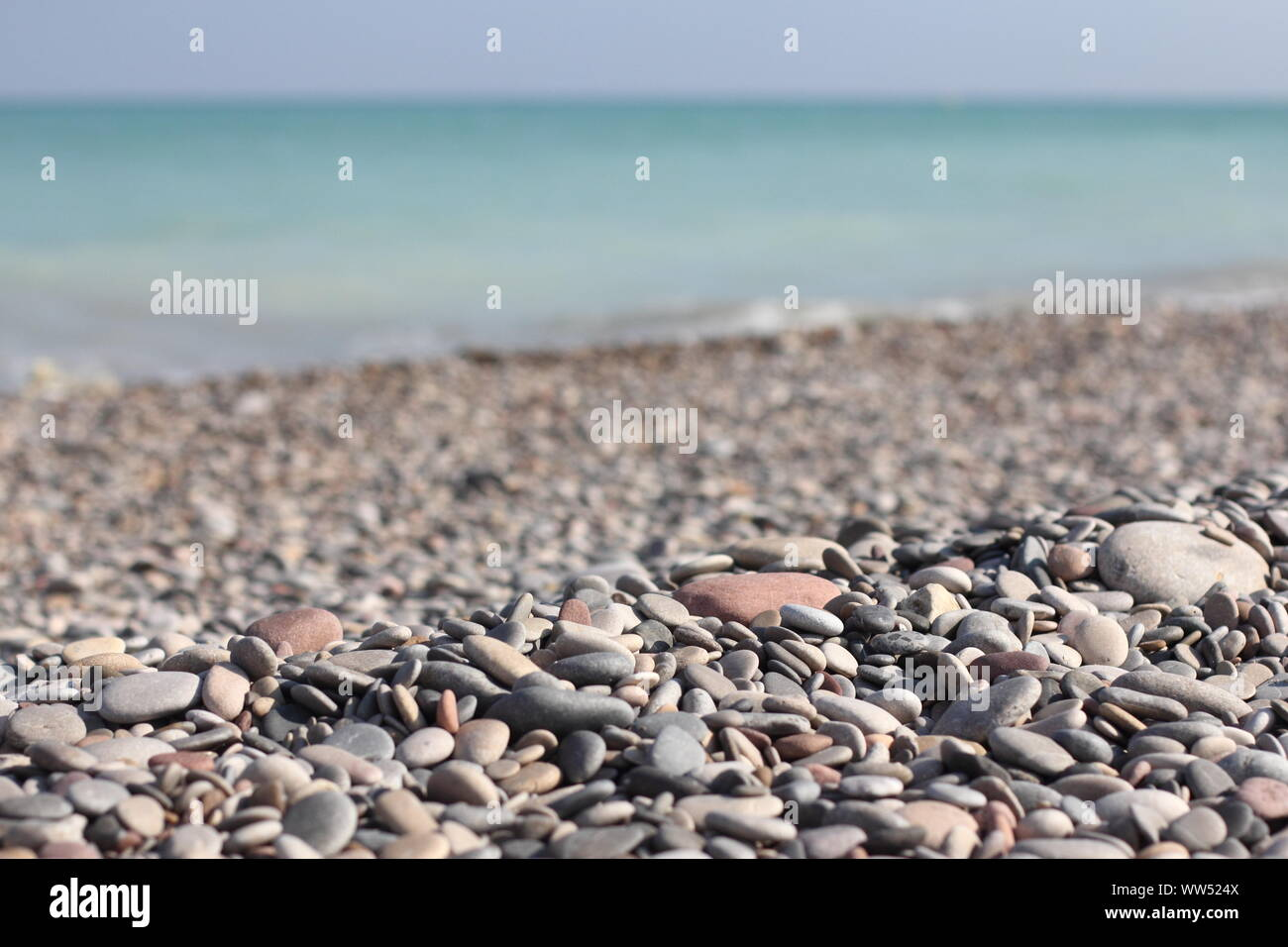 A stony beach on the Spanish coast, Stock Photo