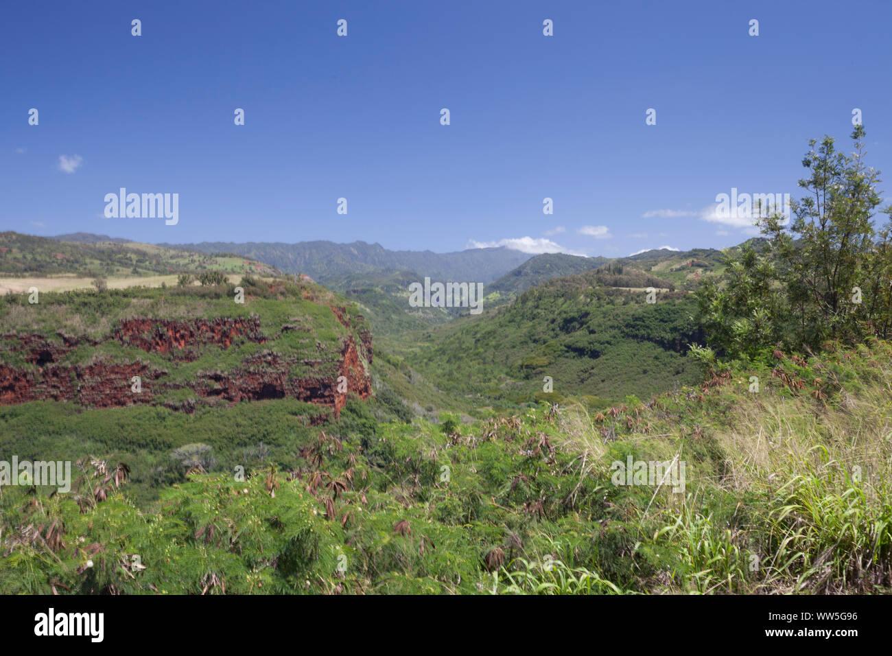Mountain landscape in the inland, Kauai, Hawaii, USA Stock Photo