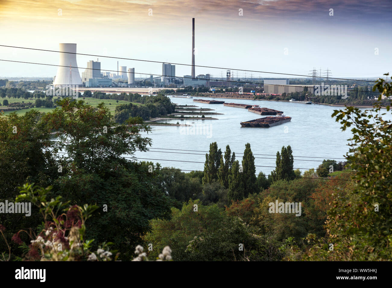 View over the Rhine to the power plant in Voerde. Stock Photo