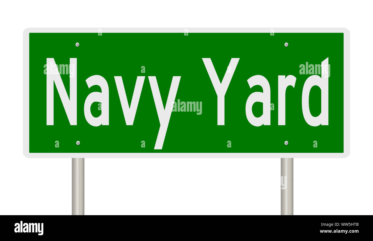 Rendering of a green road sign for Navy Yard in Washington DC Stock Photo