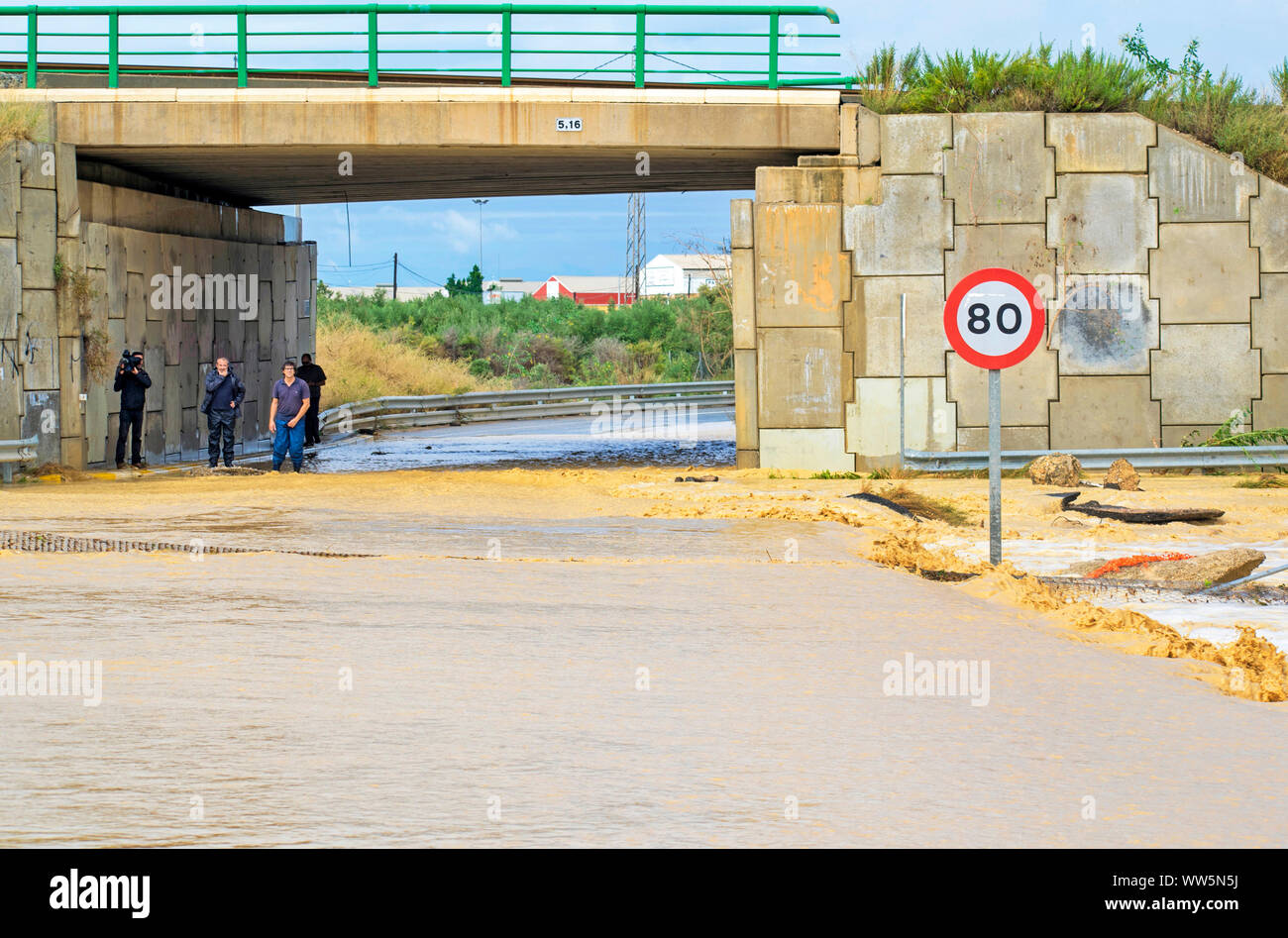 Murcia, Spain, September 13, 2019:  Floods and damages caused by torrential rain due to the atmospheric phenomenon DANA on September 12th to 13th. Stock Photo